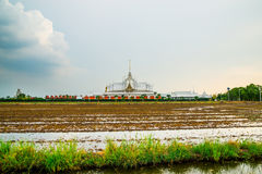 Landscape wat thai at chachoengsao Royalty Free Stock Images