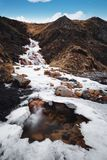 Landscape water fall with frozen water in winter with blue sky Stock Photos