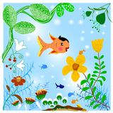 Landscape in the water. With fish and trees. In the form of abstract Stock Image