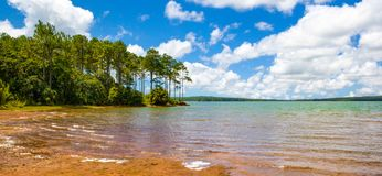 Landscape of water reservoir in Mauritius island. Mare aux Vacoas - is the largest water reservoir in Mauritius island. Landscape view from the west shore Stock Photo