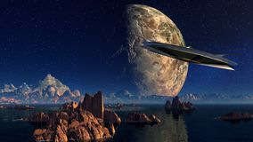 Landscape, Water, Rock, Spaceship Royalty Free Stock Images
