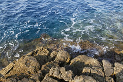 Landscape with water and rocks in Thassos island, Greece, next to the natural pool called Giola Royalty Free Stock Photos