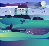 Landscape of the water. Sea wave. royalty free illustration