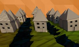 A landscape with water between the streets made of low poly outdoor areas Royalty Free Stock Photo