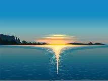 Landscape, water and sunrise,  illustration Royalty Free Stock Photo