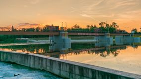 Landscape of water weir on Oder river in Wroclaw, Poland. royalty free stock photos