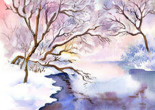 Landscape Watercolor landscape Royalty Free Stock Image