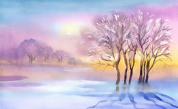 Landscape Watercolor landscape Royalty Free Stock Images