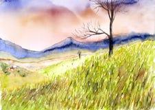 Landscape watercolor painted Stock Images