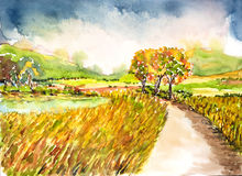 Landscape watercolor painted. The road to field landscape watercolor on paper Stock Photos