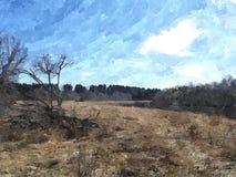 Landscape watercolors Stock Images