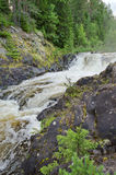 Landscape with a waterfall. Landscape with small falls on the wood river in Kareliya (Russia stock images