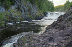 Landscape with a waterfall. Landscape with small falls on the wood river in Kareliya (Russia stock image