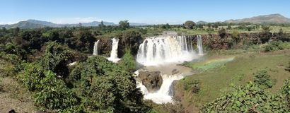 Waterfall blue nile. Landscape and waterfall Blue Nile with rainbow - Ethiopia - Africa royalty free stock photo