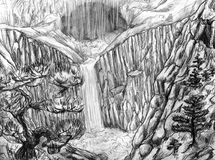 Landscape with waterfall and cave. Landscape with waterfall and secret cave. Water falls from rocky cliff. Pine trees grow on the slopes. Pencil drawing, sketch Stock Image