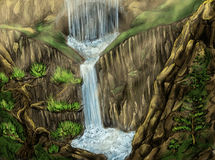 Landscape with waterfall and cave. Landscape with waterfall and secret cave. Water falls from rocky cliff. Pine trees grow on the slopes. Pencil drawing, colored Royalty Free Stock Photos