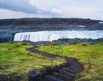 Landscape with waterfall Dettifoss, Iceland royalty free stock image
