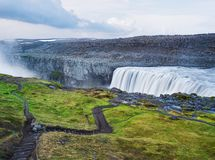 Landscape with waterfall Dettifoss, Iceland stock images