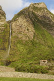 Landscape with waterfall in Faja Grande, Flores island. Azores, Royalty Free Stock Images