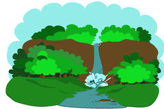 Landscape with a waterfall. Falls among the forest thickets Stock Images