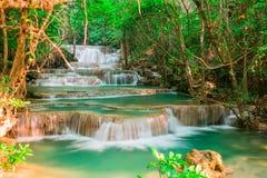 Huay Mae Kamin waterfall at National Park in Thailand stock photo