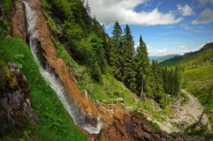 Summer landscape with Cascada Cailor (Horses Waterfall) in Rodnei Mountains, landmark attraction in Romania. Summer landscape. Cascada Cailor ( royalty free stock photo