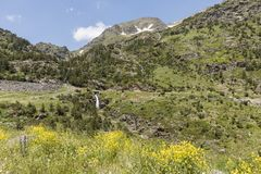 Landscape with waterfall in the Ordina Arcalis area in Andorra. Between France and Spain Stock Images