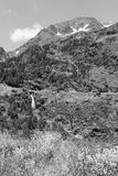 Landscape with waterfall in the Ordina Arcalis area in Andorra. Between France and Spain Royalty Free Stock Photos