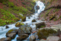 Landscape with a waterfall Shipot and forest river. Carpathians Royalty Free Stock Images