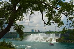 A tree and a waterfall view in Niagara falls royalty free stock photography