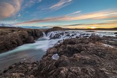 Landscape of waterfalls and rivers in Icelandic lands stock image