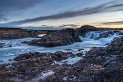 Landscape of waterfalls and rivers in Icelandic lands stock photo
