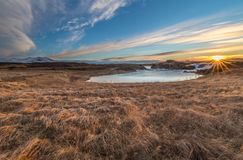 Landscape of waterfalls and rivers in Icelandic lands royalty free stock photos