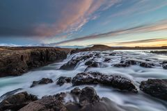 Landscape of waterfalls and rivers in Icelandic lands royalty free stock images