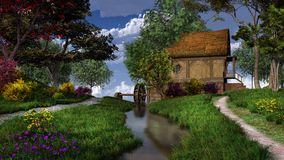 Landscape with watermill. Fairytale landscape with watermill and flowers Royalty Free Stock Images