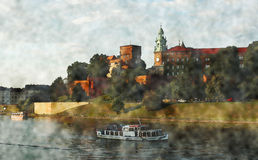 Landscape with Wawel castle above the river Visla in Cracov, Poland Royalty Free Stock Photo
