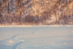 Landscape. weather, snowdrifts in the foreground Royalty Free Stock Photography