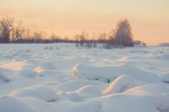 Landscape. weather, snowdrifts in the foreground Stock Photography