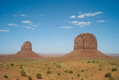 Landscape with West Mitten Butte - Monument Valley, USA. Landscape West Mitten Butte against blue sky in Monument Valley, United States royalty free stock photo