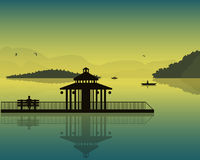Landscape which depicts the pond, sky, silhouettes of boats and fishermen, alcove and the bench at sunset. Vector Stock Photo