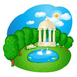 Landscape with a white arbour. Royalty Free Stock Photo