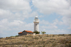 Landscape with white lighthouse Stock Images
