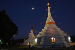 Landscape of white pagoda in twilight time Stock Photo