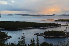 Landscape with White Sea Kandalaksha Bay. Image of White Sea Kandalaksha Bay royalty free stock photography