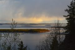 Landscape with White Sea Kandalaksha Bay. Image of White Sea Kandalaksha Bay stock image