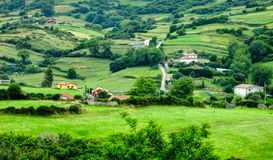 Landscape wiht green field and hills. Cantabria landscape with green field and hills. Spain Royalty Free Stock Images