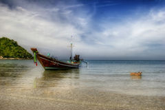 Landscape wiht Thai boat & dog Royalty Free Stock Image