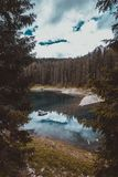 Landscape the wild nature lake Misurina. In the Alps Royalty Free Stock Photography