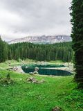 Landscape the wild nature lake Misurina. In the Alps Stock Images