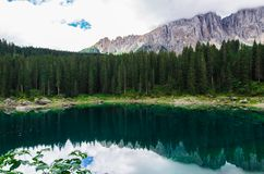Landscape the wild nature lake Misurina. In the Alps Royalty Free Stock Images